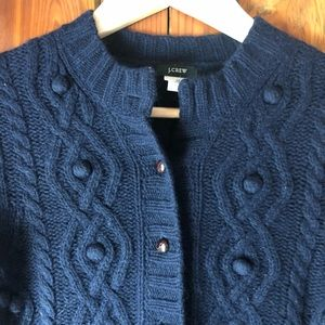 J Crew cable knit cardigan, navy blue, size xs